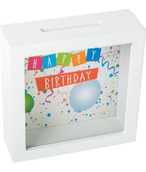 "Medinė taupyklė su stiklu ""Happy Birthday""  15x15cm"