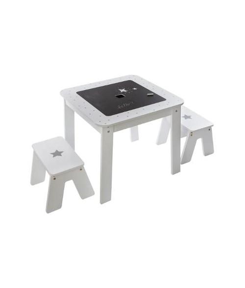 Staliukas / daiktadėžė su dvipusiu stalviršiu ir 2 kėdutėmis (berniukui)