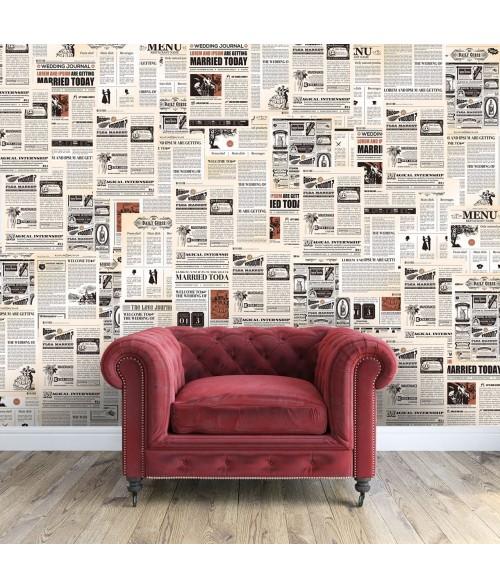 """Sieninis lipdukas """"Vintažiniai laikraščiai"""""""