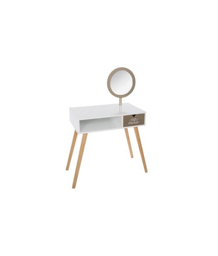 Kosmetinis staliukas auksiniu veidrodžiu 68 x 40 x 91cm