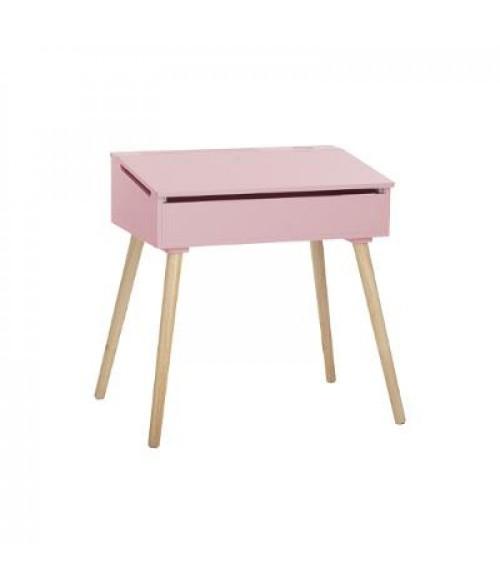 Rožinis rašomasis stalas natūralaus medžio kojomis 62.4cm