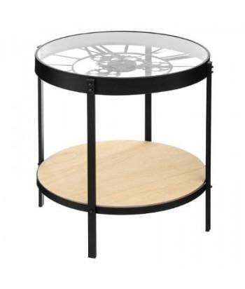 Kavos staliukas / laikrodis su medine lentynėle
