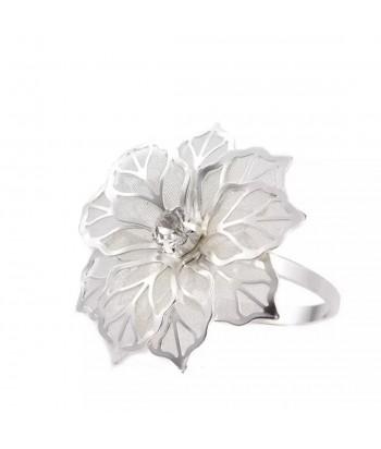 Metalinis sidabro spalvos servetėlės žiedas GĖLĖ