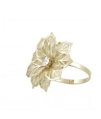 Metalinis aukso spalvos servetėlės žiedas GĖLĖ