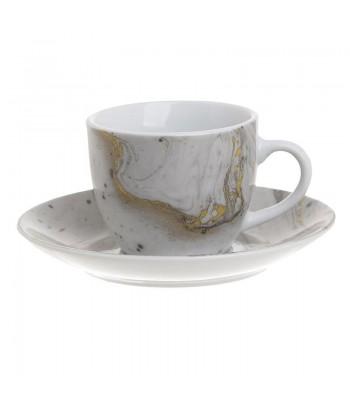 Porcelianinis kavos puodelis su lėkštute GREY MARBLE 90ml