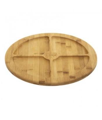 Besisukantis 4 skyrių bambukinis serviravimo padėklas 35.5cm