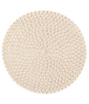 Pintas smėlio baltai auksinis stalo padėkliukas IRISE BLANC 38cm