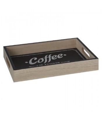 Medinis padėkliukas juodu dugnu COFFEE L 40x30cm