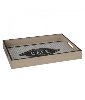 Medinis padėkliukas baltai juodu dugnu CAFE L 40x30cm