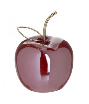 Raudonas keramikinis obuolys aukso spalvos kuoteliu 12x15cm
