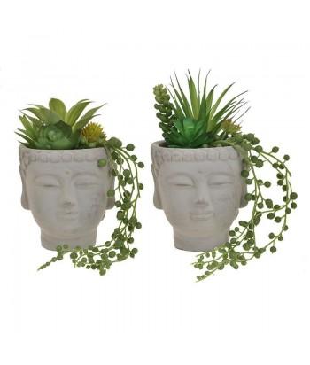 Dirbtinis augalas betoniniame veido formos vazone 20cm
