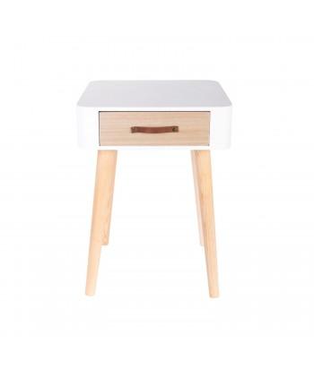 Baltas kvadratinis naktinis staliukas su stalčiuku 48x35cm