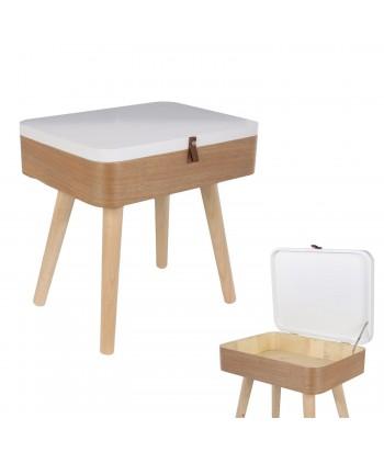 Stačiakampis naktinis staliukas / daiktadėžė medinėmis kojomis 57.5cm