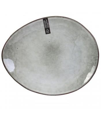 Akmens masės pilka desertinė lėkštė GALET 22x18cm
