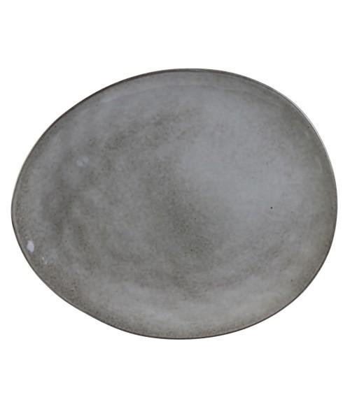 Akmens masės pilka pietų lėkštė GALET 27.5x23cm