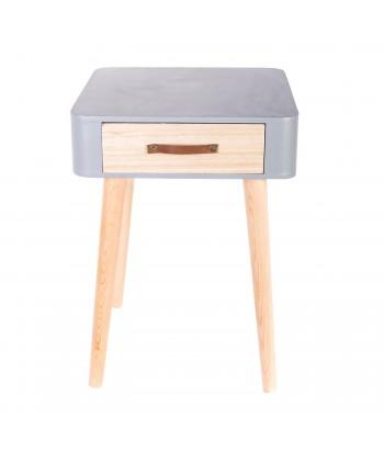 Pilkas kvadratinis naktinis staliukas su stalčiuku 48x35cm