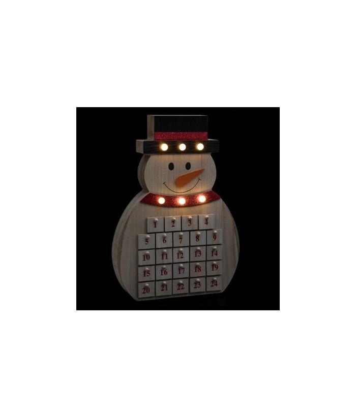 LED Medinis advento kalendorius SNOWMAN 40cm