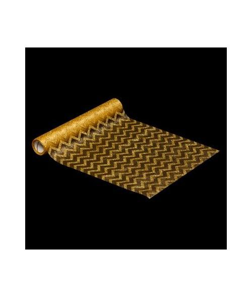 Tekstilinis stalo takelis GOLD GLITTER 5mtr