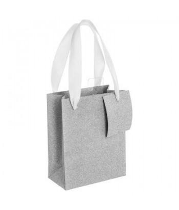 Sidabrinis blizgantis dovanų maišelis S 18x23x10cm
