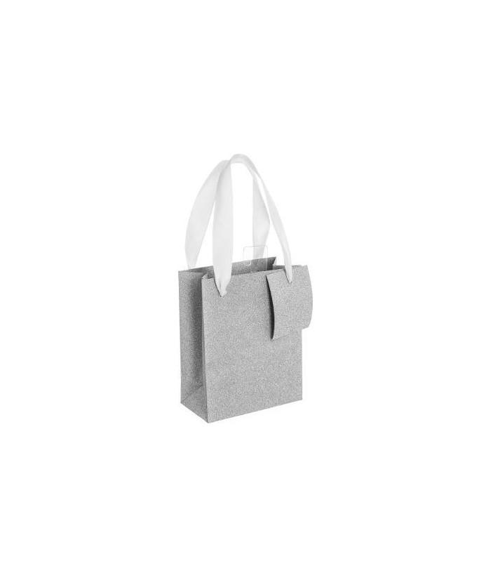 Sidabrinis blizgantis dovanų maišelis M 27x14x33cm