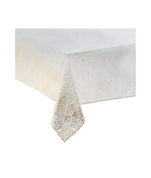 Balta  šventinė staltiesė auksinėmis dekoracijomis 140 x 240cm