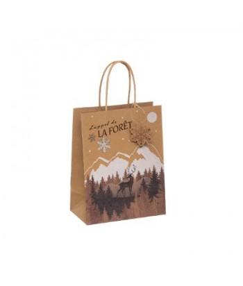 Kraftinio popieriaus Kalėdinis dovanų maišelis S 18x10x23cm