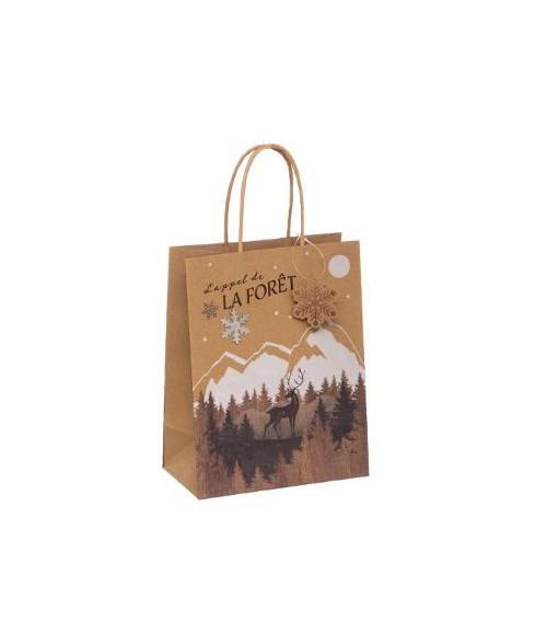 Kraftinio popieriaus Kalėdinis dovanų maišelis M 26x13.7x33cm