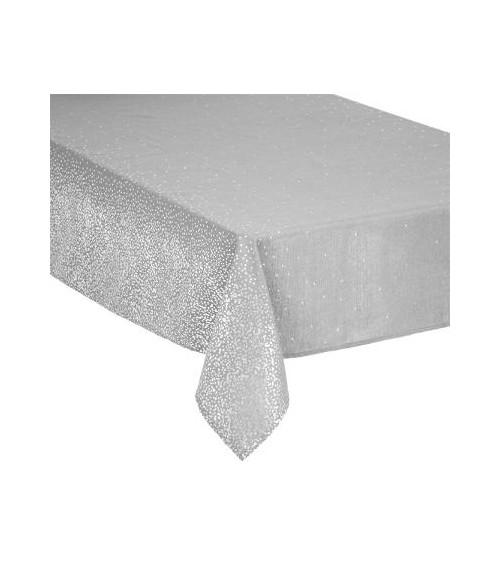 Pilka staltiesė sidabrinėmis dekoracijomis 140x240cm