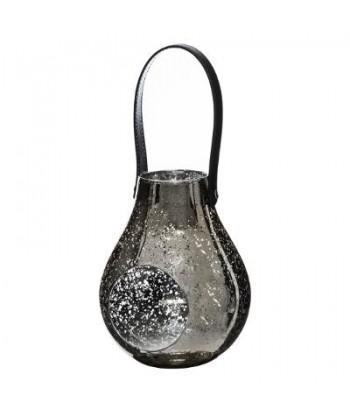 Pakabinama sidabrinė žvakidė juoda rankenėle 18.5cm