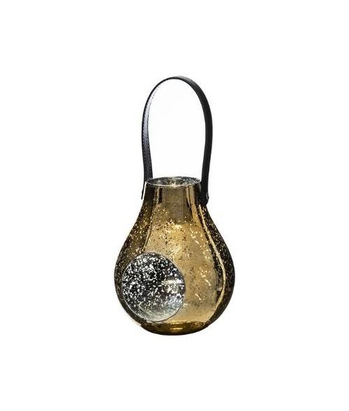 Pakabinama auksinė žvakidė juoda rankenėle 18.5cm