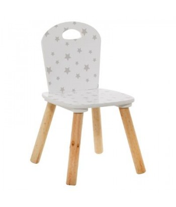 Žvaigždutėmis dekoruota balta vaikiška kėdutė 32x50cm