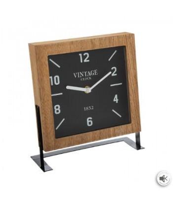 Medinis stalinis laikrodis metaliniu stovu 20x23.5cm