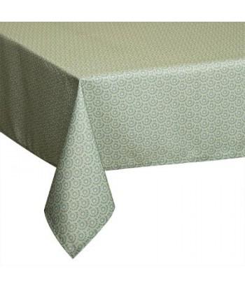 Dėmėms atspari žalia raštuota staltiesė 240x140cm