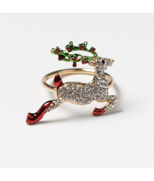 Metalinis aukso spalvos servetėlės žiedas CHRISTMAS DEER