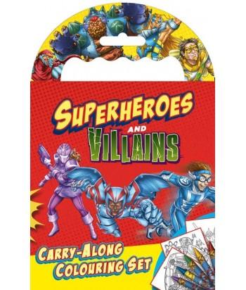 Superheroes & Villians piešimo rinkinys  (kreidelės ir knygelė)