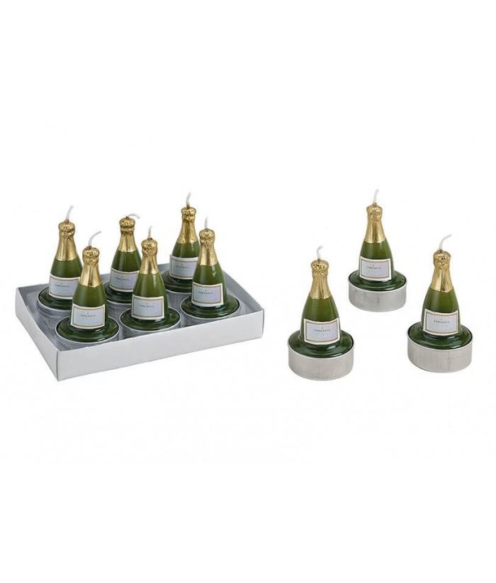 Arbatinių žvakučių rinkinys CHAMPAGNE BOTTLE (6vnt)