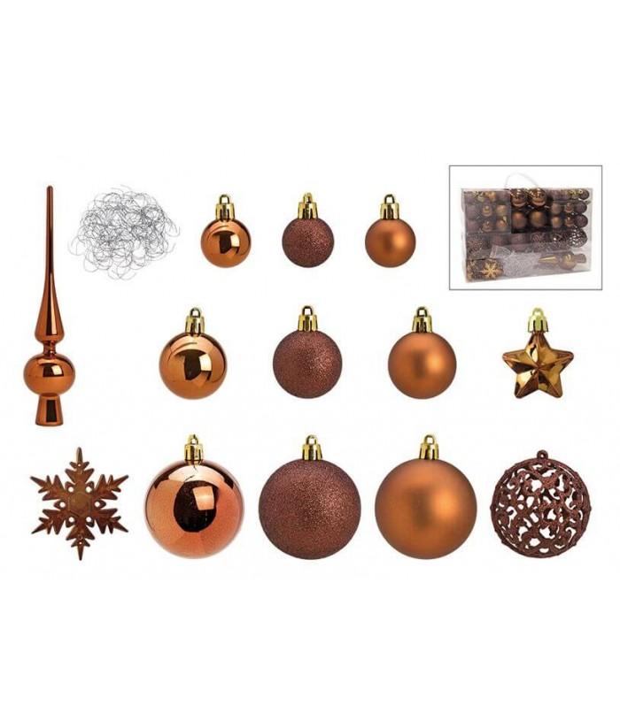 Rudų Kalėdinių dekoracijų rinkinys prezentaciniame lagaminėlyje  36x23cm