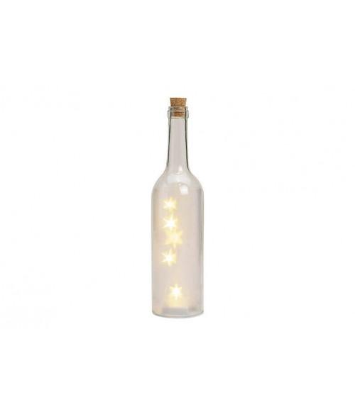 Stiklinis iliuminuotas butelis su LED žvaigždėmis 29cm