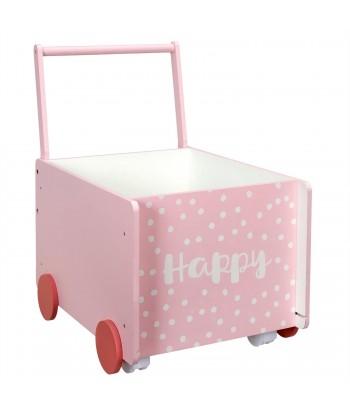 Stumiamas rožinės spalvos žaislų karutis ant ratukų 35x47cm