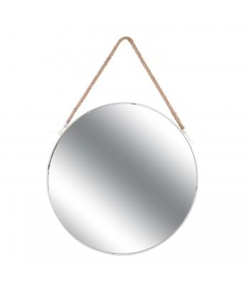 Baltas pakabinamas veidrodis džiuto dirželiu 50cm