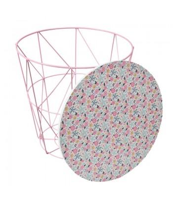 Vaikiškas rožinis vielinis staliukas / daiktadėžė mediniu stalviršiu LIBERTY 30cm