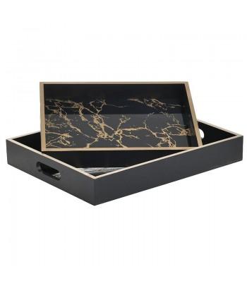 Juodo marmuro imitacijos padėklas auksine briauna M 24.5x32.5cm