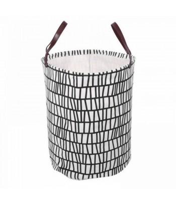 Medvilninis žaislų krepšys odinėmis rankenomis CELLS 35x45cm