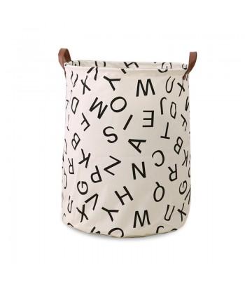 Medvilninis žaislų krepšys odinėmis rankenomis ALPHABETH 40x50cm