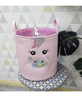 Medvilninis rožinės spalvos žaislų krepšys UNICORN 35x36cm