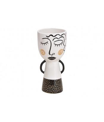 Keramikinis vazonas LADY B&W 9x20cm