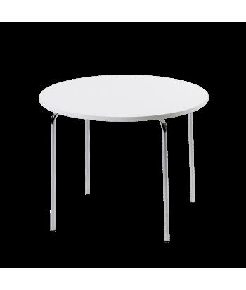 Baltas vaikiškas staliukas chromuoto metalo kojomis