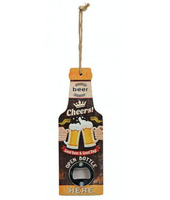 Metalinis pakabinamas alaus butelių atidarytuvas CHEERS 20cm