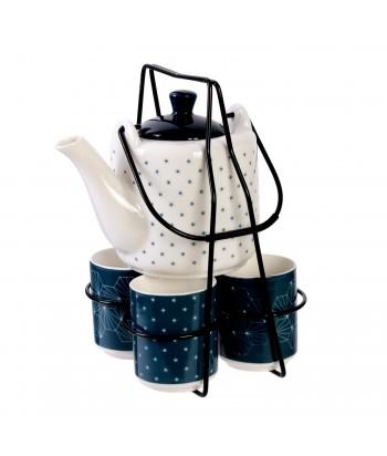 Arbatos rinkinys ant metalinio stovo. Rinkinyje: 500ml baltas arbatinukas, 4 x 100ml mėlyni puodeliai, juodas metalinis stovas
