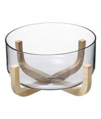 Stiklinė salotinė ant medinio stovo ARHA